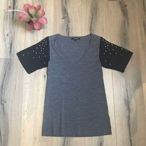 Nanette Lepore Wool Silk Studded Sleeve Blouse S